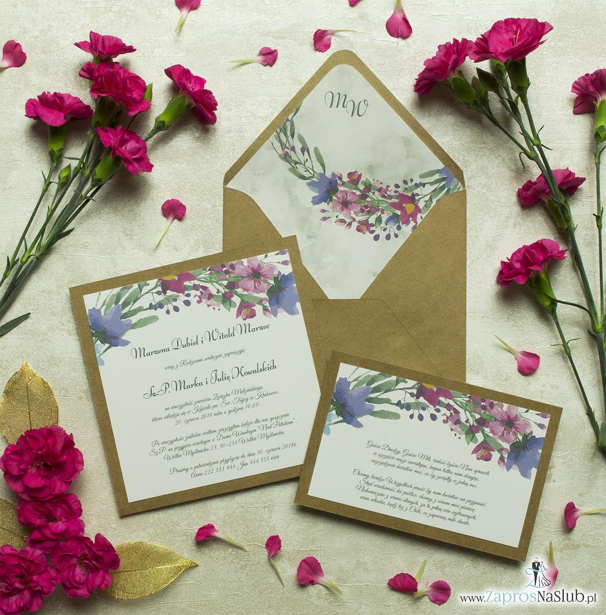 Dwuczęściowe, kwiatowe zaproszenia ślubne w stylu eko, z polnymi kwiatami w kilku odcieniach: niebieskim, różowym, fioletowym i khaki. ZAP-76-17