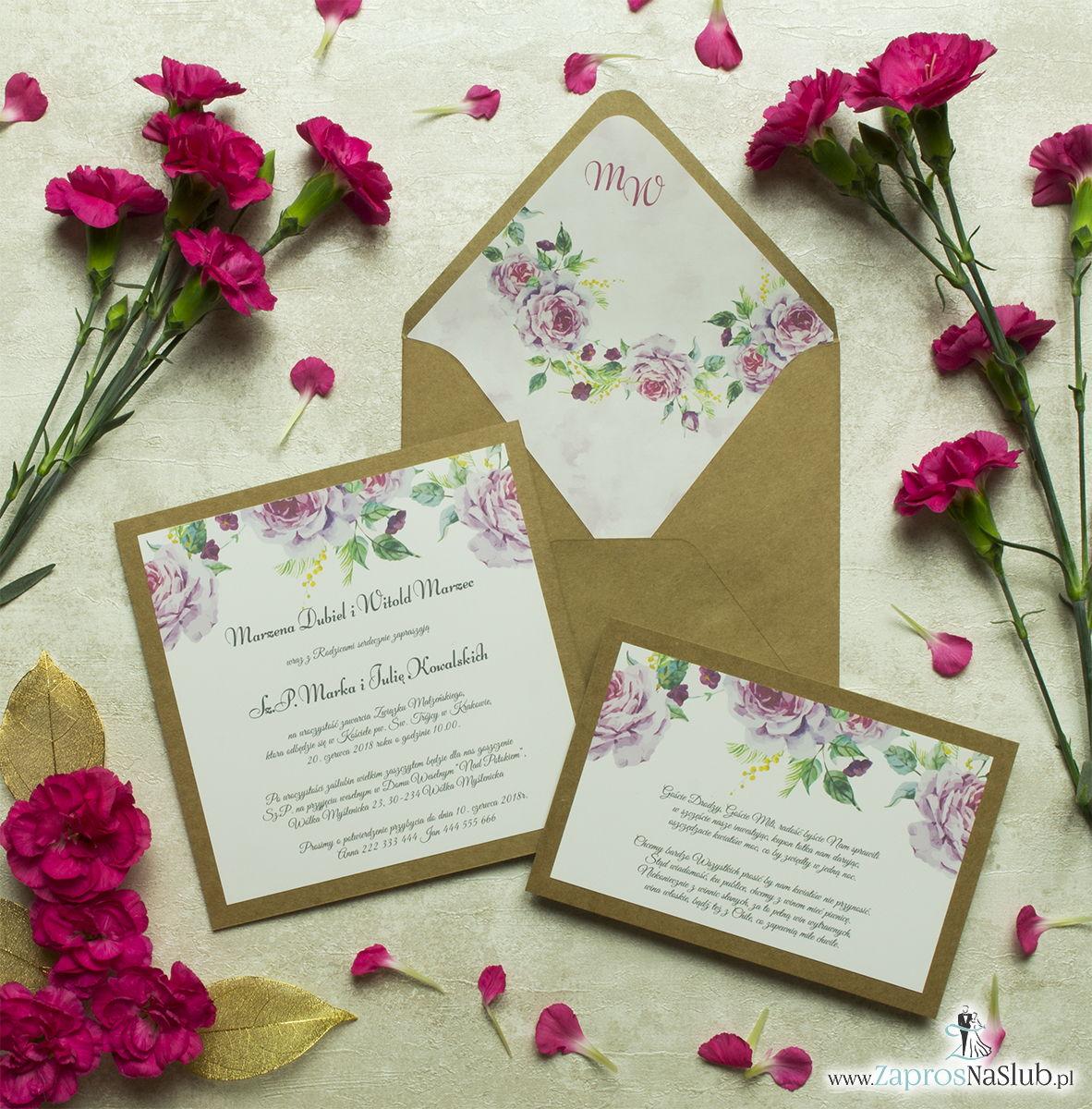 Dwuczęściowe, kwiatowe zaproszenia ślubne w stylu eko, z kwiatami oraz pąkami jasnoróżowych róż. ZAP-76-18
