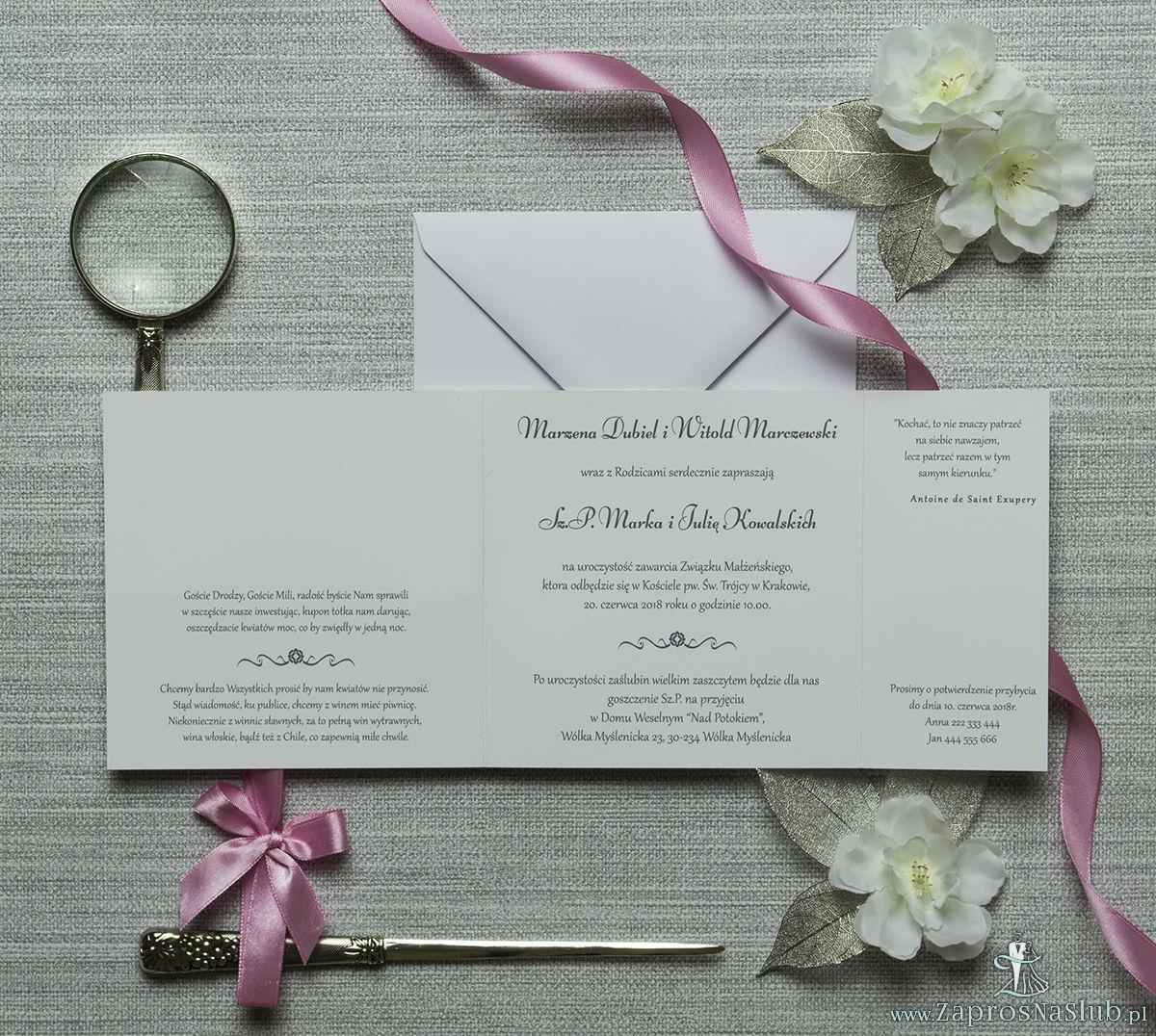 Urocze zaproszenia ślubne z różowymi kropkami na białym tle oraz różową wstążką. ZAP-81-02
