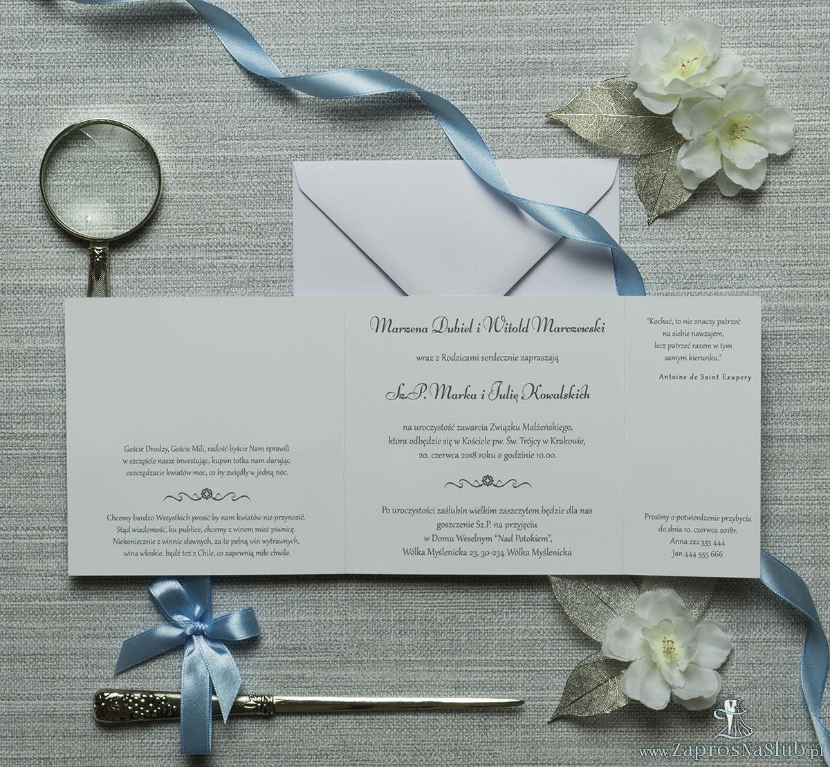 Urocze zaproszenia ślubne z białymi kropkami na błekitnym tle oraz jasnobłękitną wstążką. ZAP-81-03