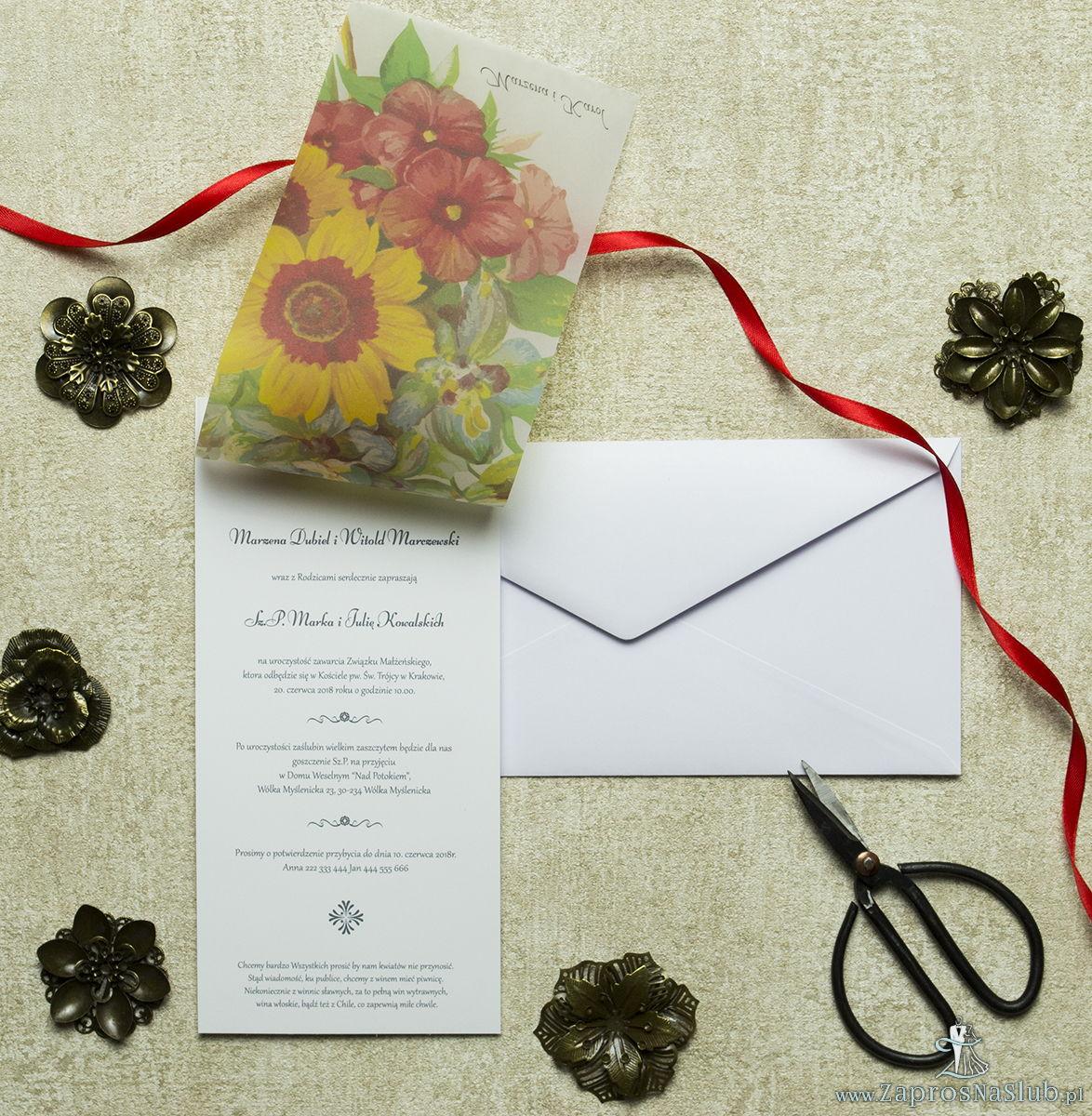 Kwiatowe zaproszenia ślubne w niecodziennym stylu z bukietem wiosennych roślin. ZAP-82-04