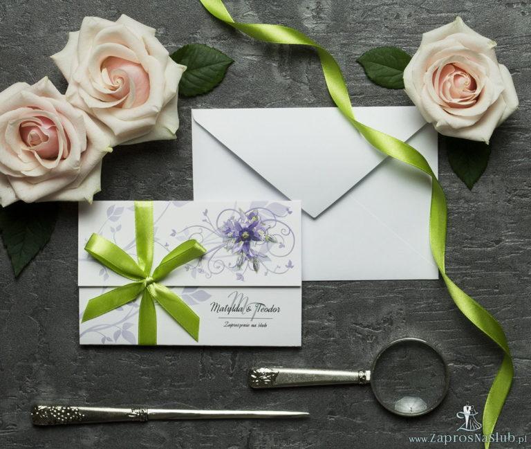 ZaprosNaSlub - Zaproszenia ślubne, personalizowane, boho, rustykalne, kwiatowe księga gości, zawieszki na alkohol, winietki, koperty, plany stołów - Unikatowe zaproszenia ślubne z kwiatami. Fioletowo-zielone kwiaty i wstążka w pistacjowym kolorze. ZAP-93-04