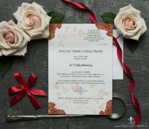 Unikatowe zaproszenia ślubne z kwiatami. Gerbery i wstążka w czerwonym kolorze. ZAP-93-14