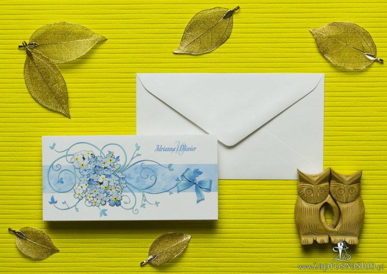 ZaprosNaSlub - Zaproszenia ślubne, personalizowane, boho, rustykalne, kwiatowe księga gości, zawieszki na alkohol, winietki, koperty, plany stołów - Nietuzinkowe kwiatowe zaproszenia ślubne z niezapominajkami i motywem ozdobnym. ZAP-94-05