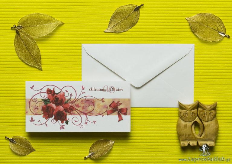 Nietuzinkowe kwiatowe zaproszenia ślubne z czerwonymi różami i motywem ozdobnym. ZAP-94-06 - ZaprosNaSlub
