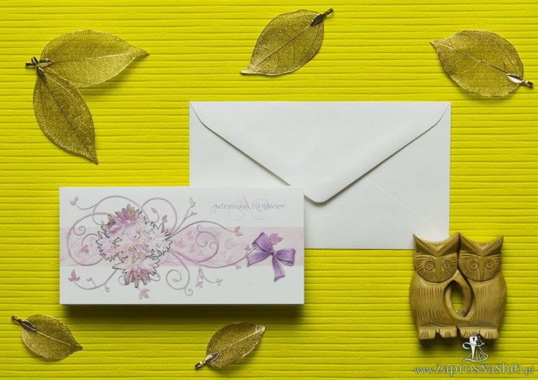 Nietuzinkowe kwiatowe zaproszenia ślubne z różowymi kwiatami i motywem ozdobnym. ZAP-94-09 - ZaprosNaSlub