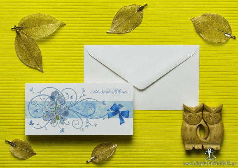 Nietuzinkowe kwiatowe zaproszenia ślubne z niebiesko-zielonymi kwiatami i motywem ozdobnym. ZAP-94-11 - ZaprosNaSlub
