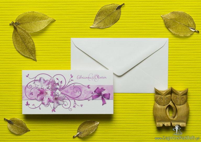 Nietuzinkowe kwiatowe zaproszenia ślubne z kwiatami rododendronu (różanecznika, azalii) i motywem ozdobnym. ZAP-94-13 - ZaprosNaSlub