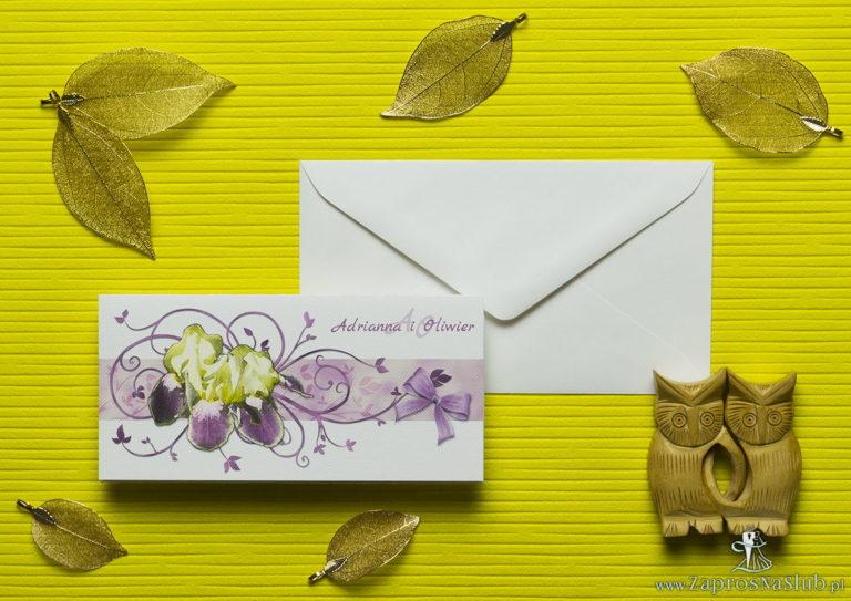 Nietuzinkowe kwiatowe zaproszenia ślubne z żółto-fioletowymi irysami i motywem ozdobnym. ZAP-94-15 - ZaprosNaSlub