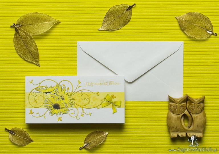 Nietuzinkowe kwiatowe zaproszenia ślubne ze słonecznikami i motywem ozdobnym. ZAP-94-19 - ZaprosNaSlub