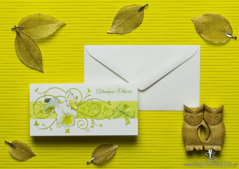ZaprosNaSlub - Zaproszenia ślubne, personalizowane, boho, rustykalne, kwiatowe księga gości, zawieszki na alkohol, winietki, koperty, plany stołów - Nietuzinkowe kwiatowe zaproszenia ślubne z bratkami i motywem ozdobnym. ZAP-94-20