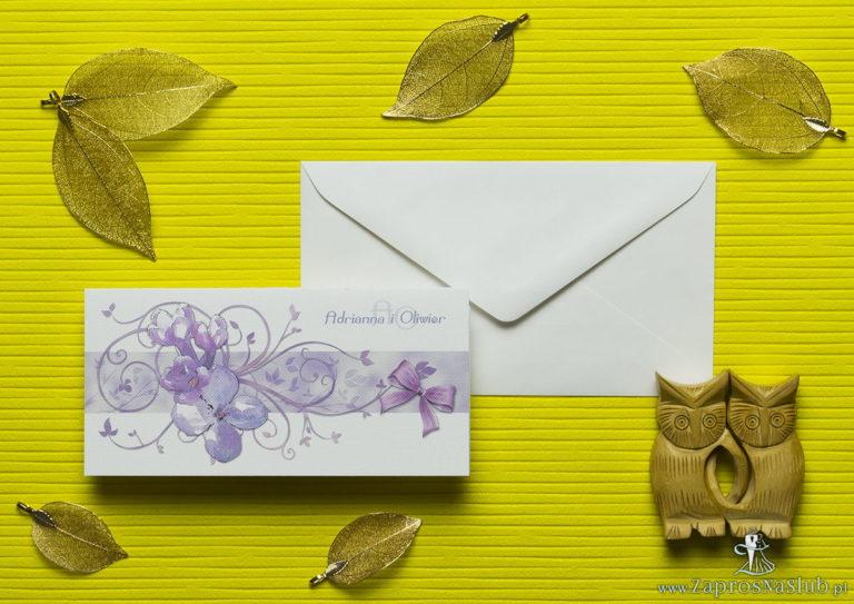 Nietuzinkowe kwiatowe zaproszenia ślubne z kwiatami bzu i motywem ozdobnym. ZAP-94-21 - ZaprosNaSlub