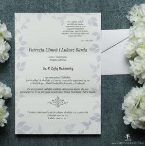 Składane na trzy części kwiatowe zaproszenia ślubne w formacie DL. Fioletowe kwiaty dzwonków, jasnofioletowa kokardka i interesujący motyw ozdobny. ZAP-95-02