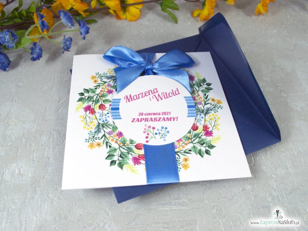 Zaproszenia na ślub z wiankiem z polnych kwiatów ZAP-54-10