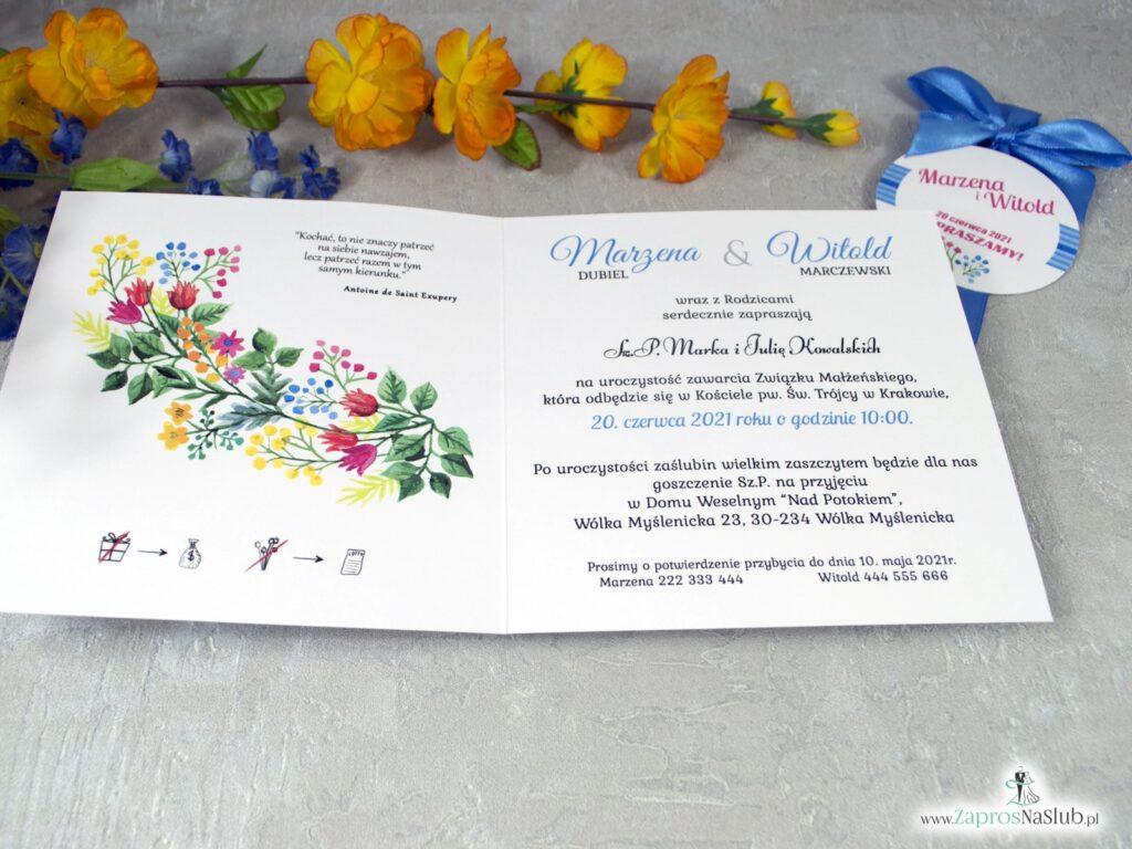 Zaproszenia ślubne kwiatowe z wiankiem ZAP-54-10