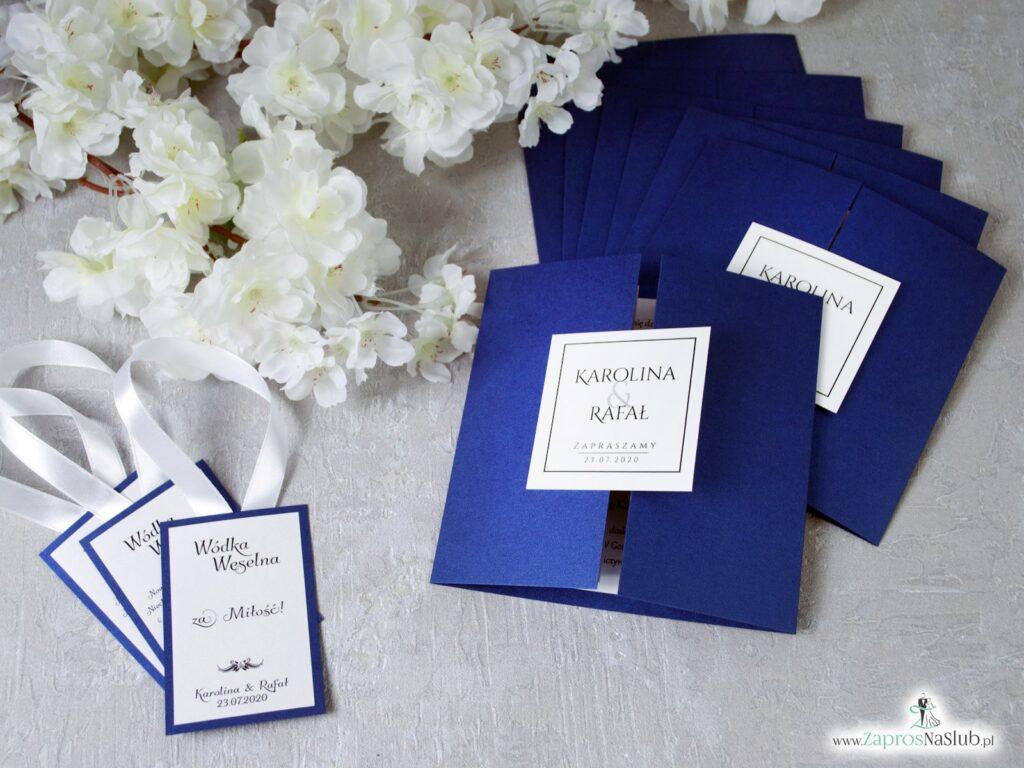 Zaproszenia ślubne niebieskie eleganckie ZAP-74-86