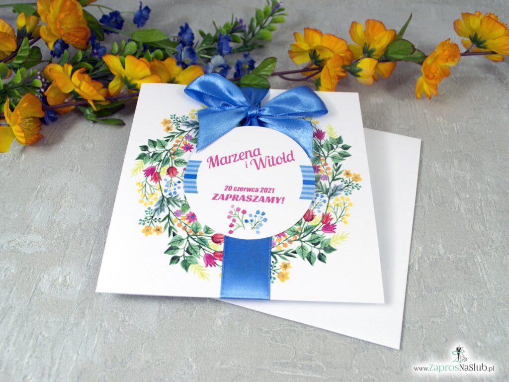 Zaproszenia ślubne wianki z kwiatami w różnych kolorach ZAP-54-10