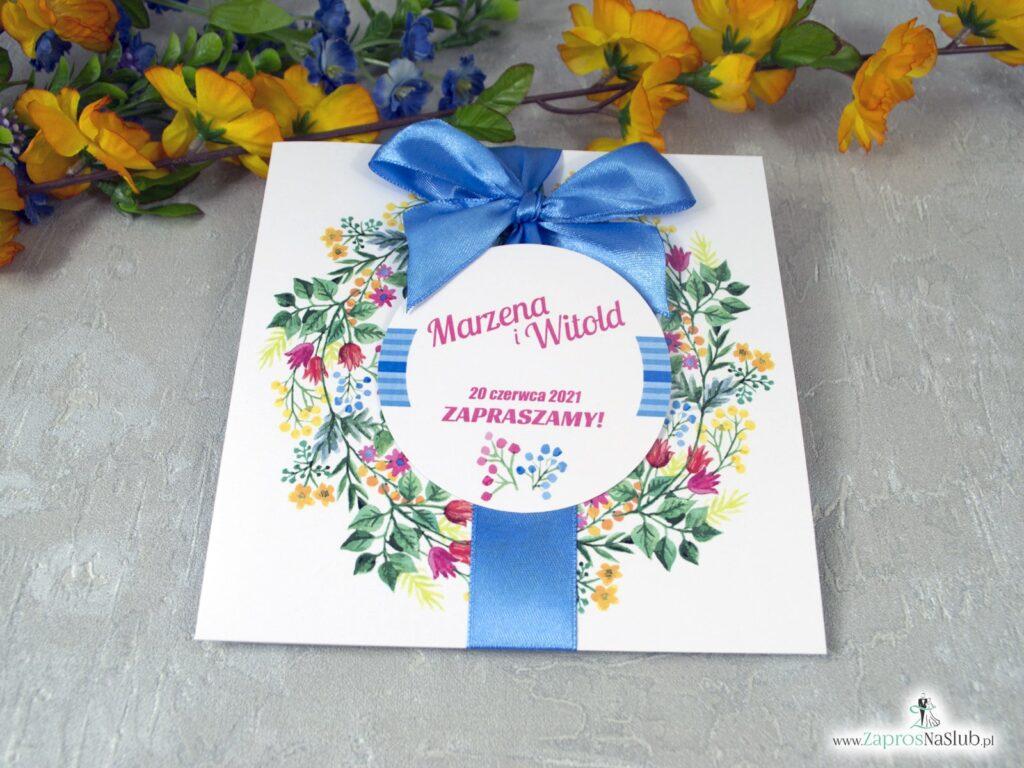 Zaproszenie ślubne z wiankiem i kolorowymi kwiatami ZAP-54-10