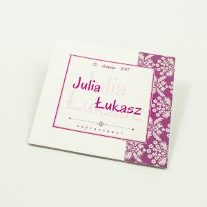 Rozkładane na trzy części zaproszenie z różowo-białym motywem florystycznym i cyrkonią. ZAP-24-02