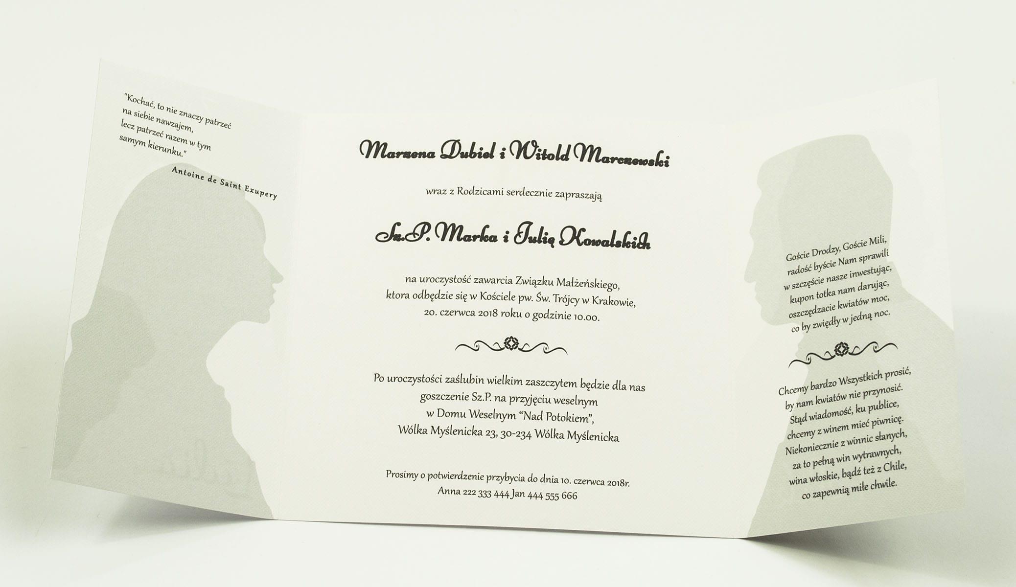 Urocze czarno-białe zaproszenia ślubne z sylwetkami kobiety i mężczyzny. ZAP-55-03