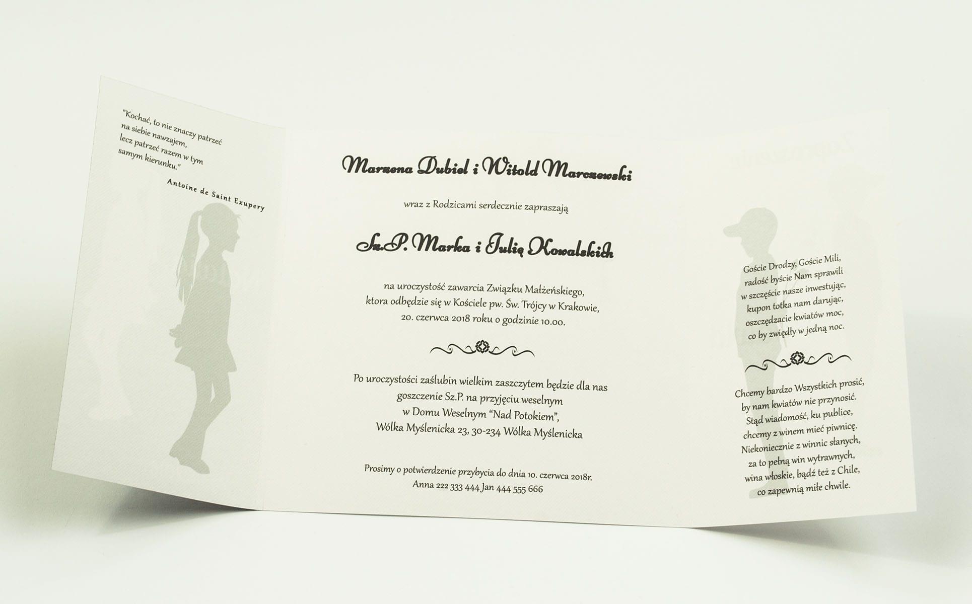 Urocze czarno-białe zaproszenia ślubne z motywem chłopca wręczającego kwiaty dziewczynie. ZAP-55-04