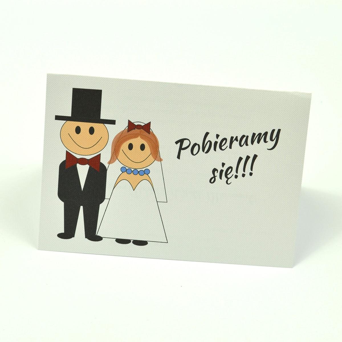 Klasyczne zaproszenia ślubne z humorystycznym obrazkiem przedstawiającym Pana Młodego i Panią Młodą. ZAP-56-03