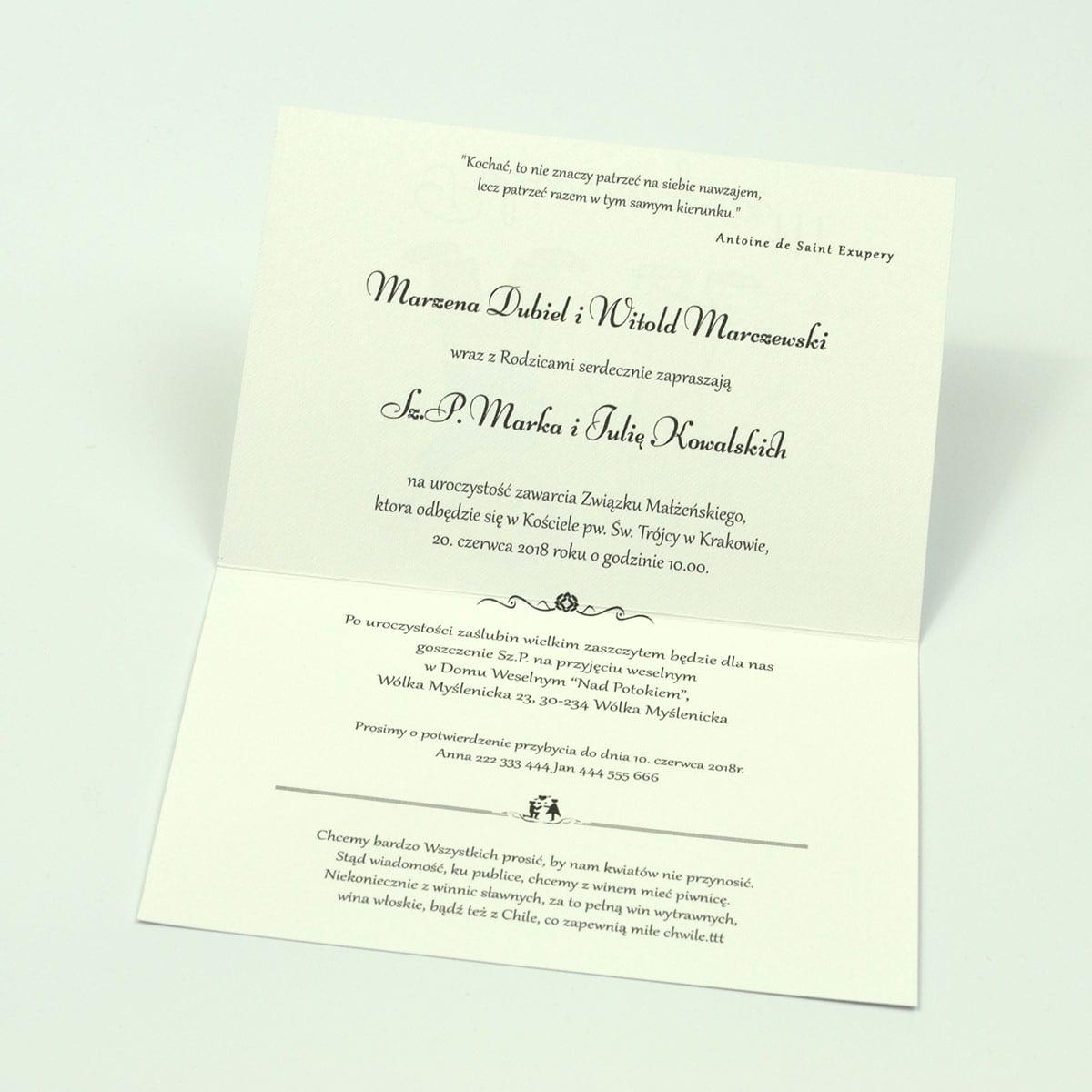 Klasyczne zaproszenia ślubne z humorystycznym obrazkiem przedstawiającym parę trzymającą się za ręce. ZAP-56-07