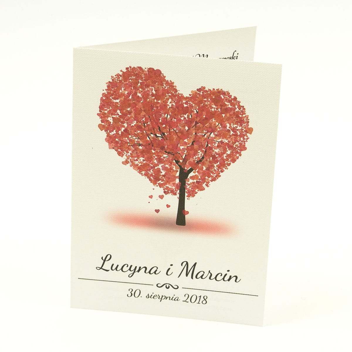 Klasyczne zaproszenia ślubne z drzewem w kształcie w odcieniach czerwieni. ZAP-57-01