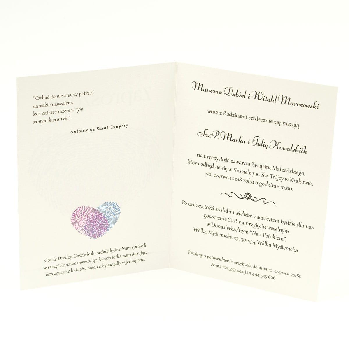Klasyczne zaproszenia ślubne z sercem w zrobionym z dwóch odcisków palca. Odciski palca w kolorze różowym i niebieskim. ZAP-57-06
