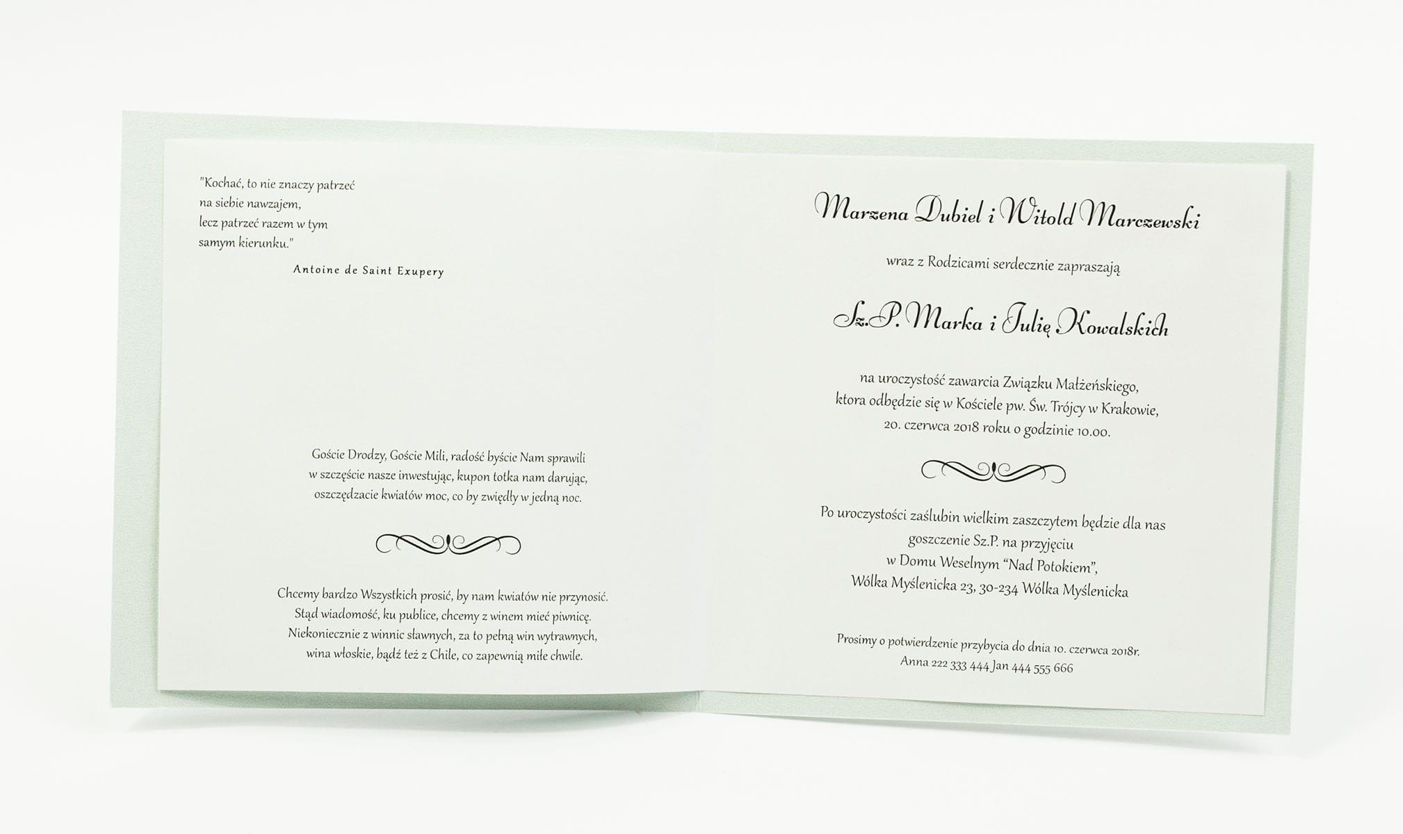 Zaproszenia ślubne na błękitnym papierze perłowym, z wstążką w kolorze jasnobłękitnym i cyrkonią oraz wklejanym wnętrzem. ZAP-61-18