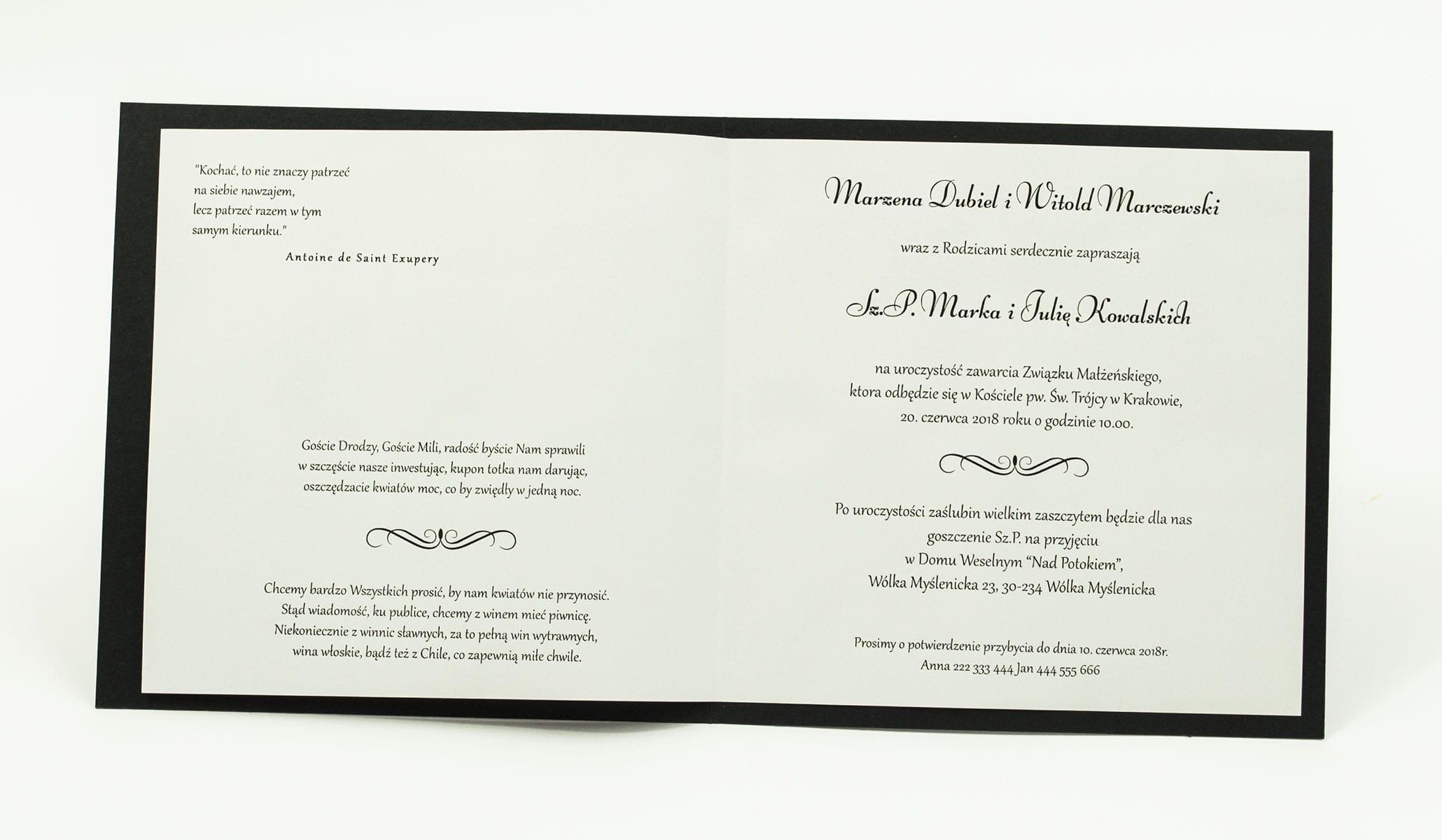 Zaproszenia ślubne na czarnym papierze z błyszczącymi elementami, ze wstążką w kolorze chabrowym i cyrkonią oraz wklejanym wnętrzem. ZAP-61-88