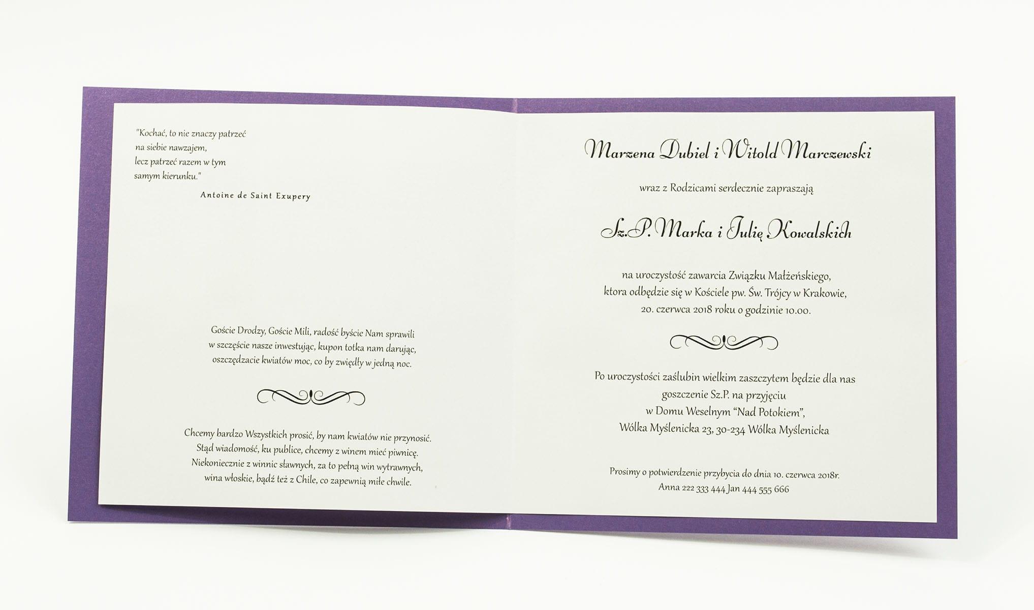 Zaproszenia ślubne na fioletowym papierze perłowym, ze wstążką w kolorze ciemnofioletowym i cyrkonią oraz wklejanym wnętrzem. ZAP-61-85