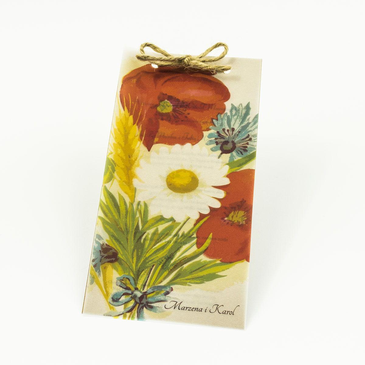 Kwiatowe zaproszenia ślubne w stylu eko z bukietem polnych roślin - maków, chabrów, rumianku i pszenicy. ZAP-82-02