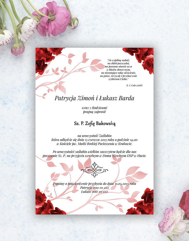 Nietuzinkowe kwiatowe zaproszenia ślubne z czerwonymi różami i motywem ozdobnym. ZAP-94-06