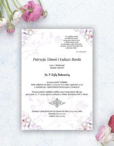 Nietuzinkowe kwiatowe zaproszenia ślubne z różowo-białymi kwiatami i motywem ozdobnym. ZAP-94-07