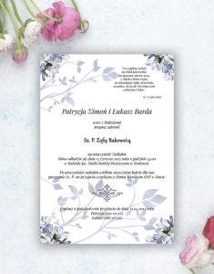 Nietuzinkowe kwiatowe zaproszenia ślubne z niebiesko-białymi kwiatami i motywem ozdobnym. ZAP-94-10