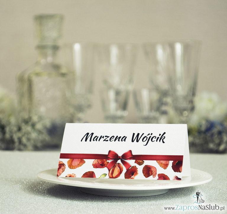 Kwiatowe winietki ślubne – składane na pół. Czerwone maki z malowaną, poziomą wstążką - ZaprosNaSlub