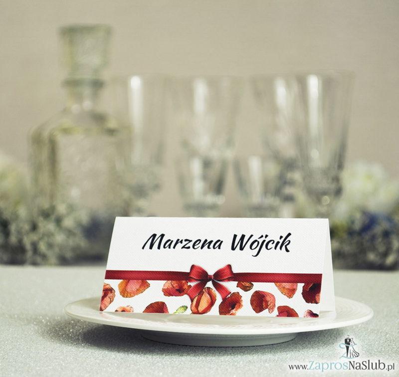 WIN-103 Kwiatowe winietki ślubne - składane na pół. Czerwone maki z malowaną, poziomą wstążką - zaproszenia na ślub zaproszenie ślubne