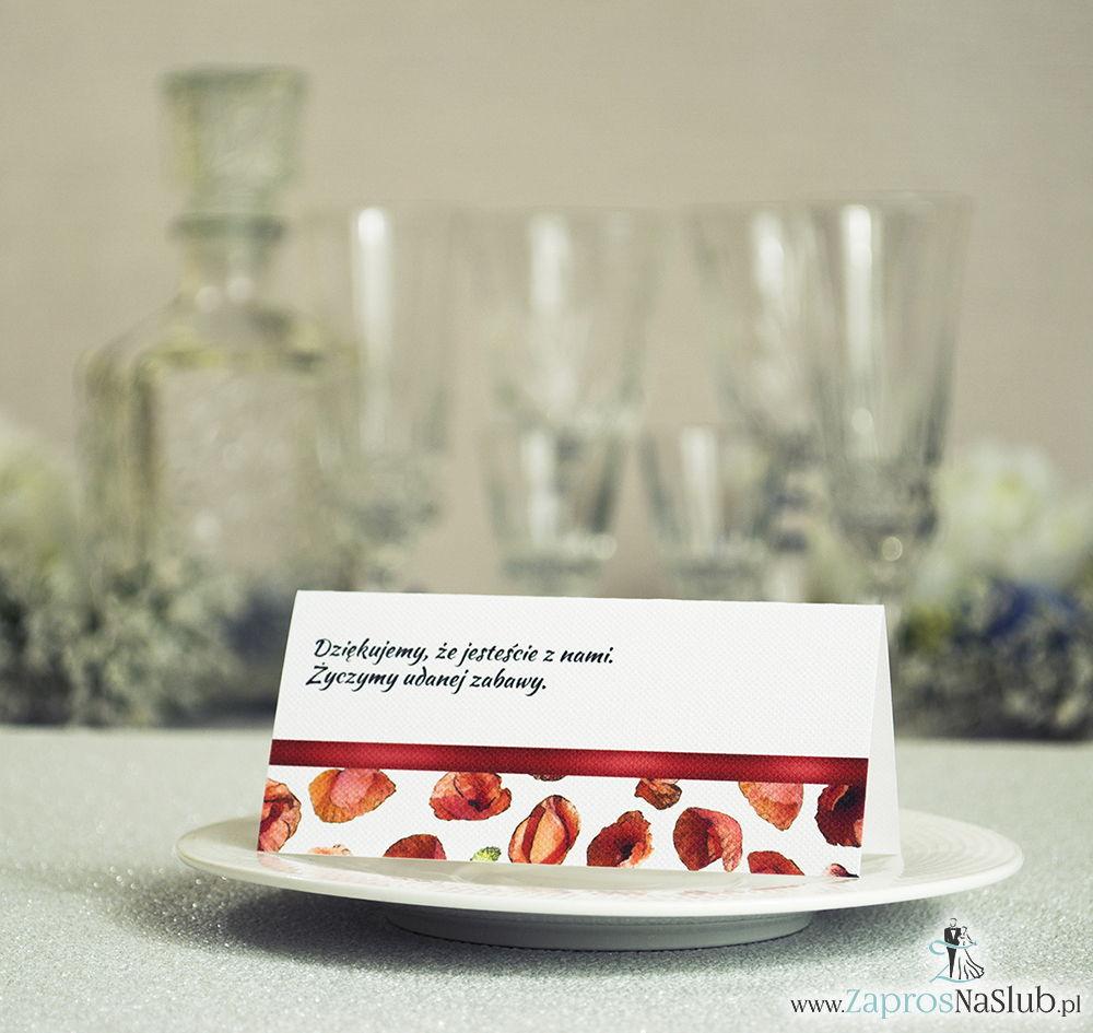 WIN-103 Kwiatowe winietki ślubne - składane na pół. Czerwone maki z malowaną, poziomą wstążką - zaproszenia na ślub zaproszenie ślubne rew
