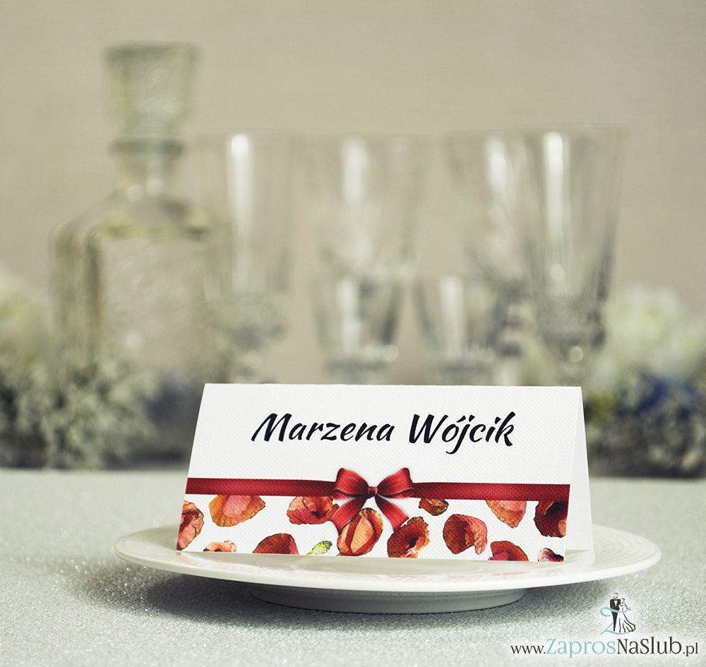 Kwiatowe winietki ślubne - składane na pół. Czerwone maki z malowaną, poziomą wstążką