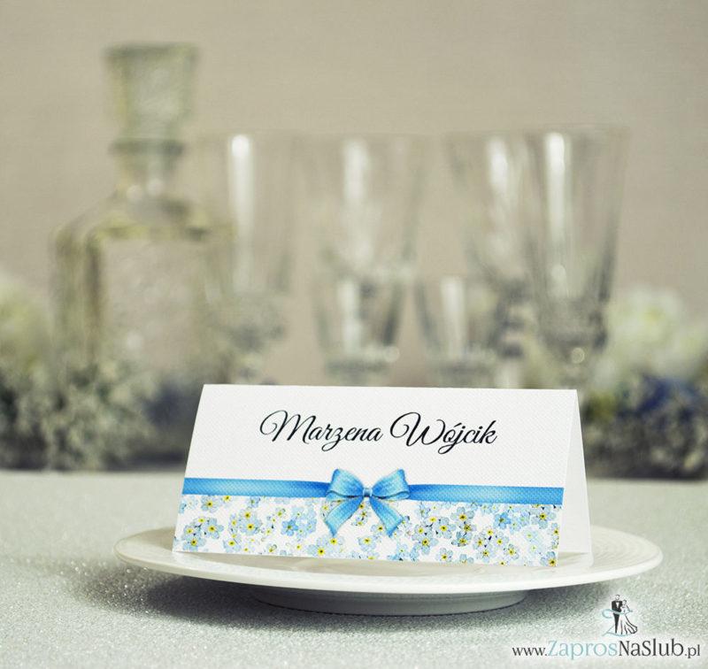 WIN-105 Kwiatowe winietki ślubne - składane na pół. Kwiaty niezapominajki z malowaną, poziomą wstążką - zaproszenia na ślub zaproszenie ślubne