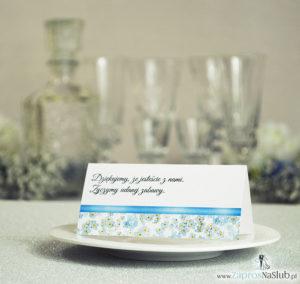 Kwiatowe winietki ślubne - składane na pół. Kwiaty niezapominajki z malowaną, poziomą wstążką