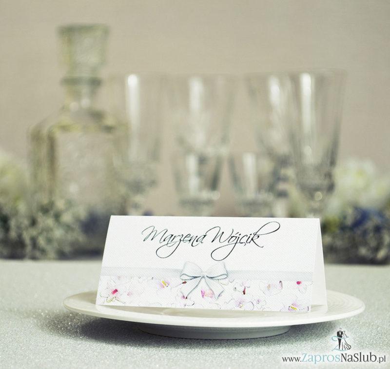 WIN-107 Kwiatowe winietki ślubne - składane na pół. Różowe oraz białe kwiaty z malowaną, poziomą wstążką - zaproszenia na ślub zaproszenie ślubne