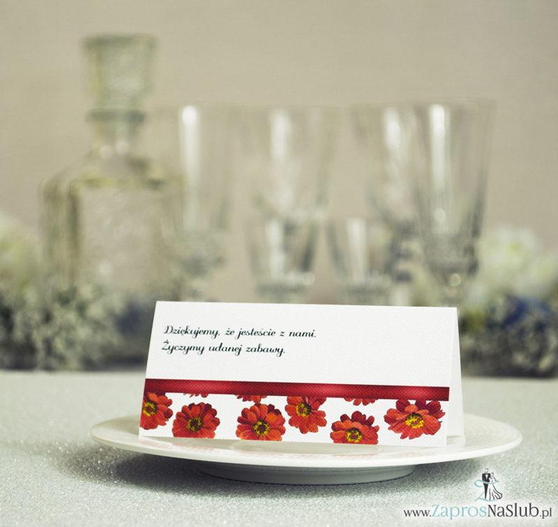 WIN-114 Kwiatowe winietki ślubne - składane na pół. Kwiaty gerbera z malowaną, poziomą wstążką - zaproszenia na ślub zaproszenie ślubne rew