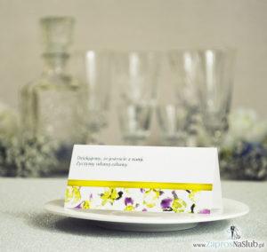 WIN-115 Kwiatowe winietki ślubne - składane na pół. Żółto fioletowe irysy z malowaną, poziomą wstążką - zaproszenia na ślub zaproszenie ślubne rew