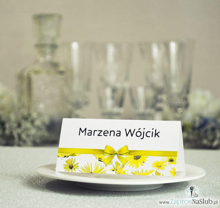 Kwiatowe winietki ślubne – składane na pół. Kwiaty słoneczniki z malowaną, poziomą wstążką - ZaprosNaSlub