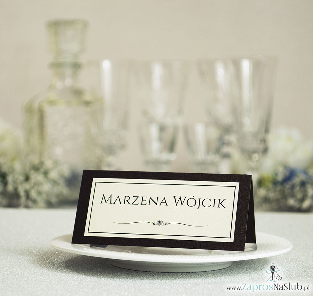 Eleganckie winietki ślubne - składane na pół winietki z brązowym, metalizowanym papierem oraz cyrkonią