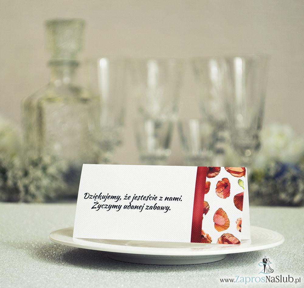Kwiatowe winietki ślubne - składane na pół winietki. Czerwone maki z malowaną, pionową wstążką