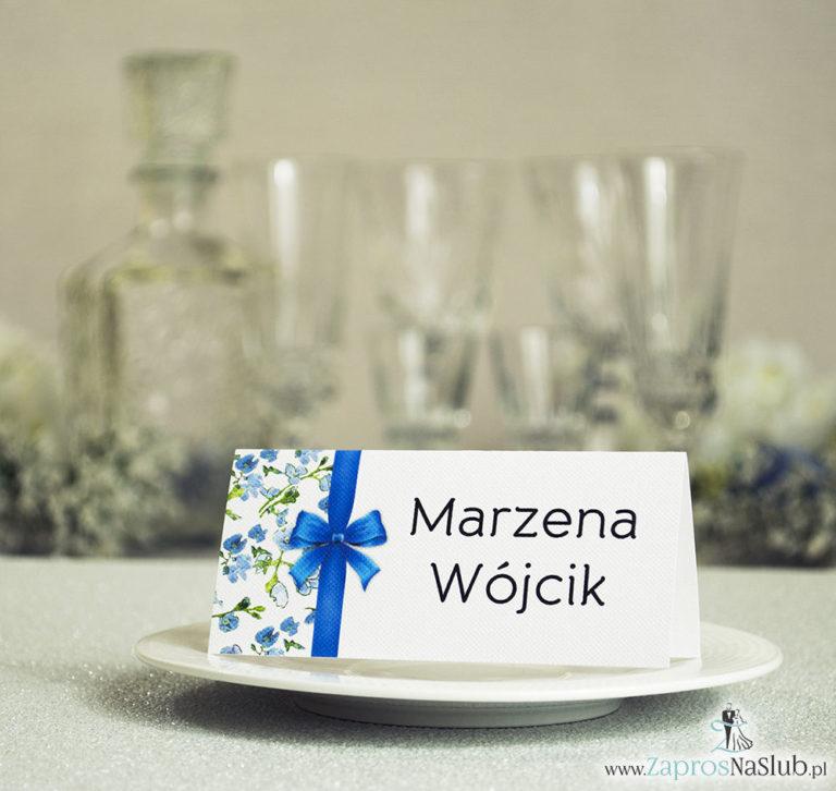 ZaprosNaSlub - Zaproszenia ślubne, personalizowane, boho, rustykalne, kwiatowe księga gości, zawieszki na alkohol, winietki, koperty, plany stołów - Kwiatowe winietki ślubne – składane na pół winietki. Niebiesko zielony motyw kwiatowy z pionową malowaną wstążką