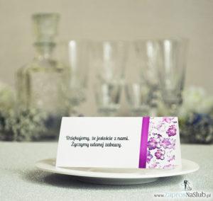 WIN-213 Kwiatowe winietki ślubne - składane na pół winietki. Kwiaty rododendronu z malowaną, pionową wstążką - zaproszenia na ślub zaproszenie ślubne rew